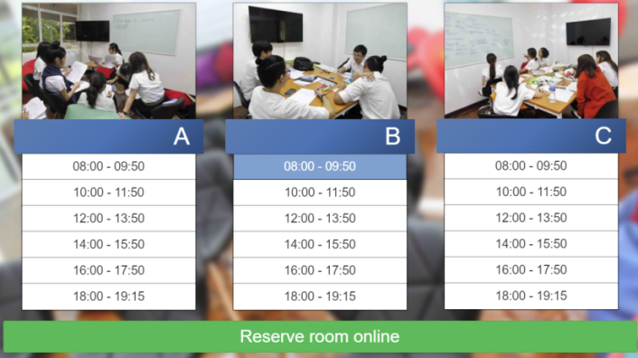 Select room A, B or C and time scheduler